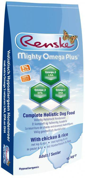 Renske Mighty Omega Plus Adult/Senior Kip 3 kg Dogshopper - Hondenvoer online kopen